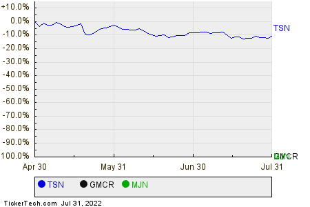 TSN,GMCR,MJN Relative Performance Chart